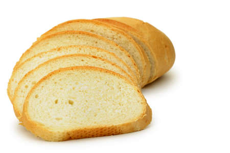 The cut bread. It is isolated on a white background photo