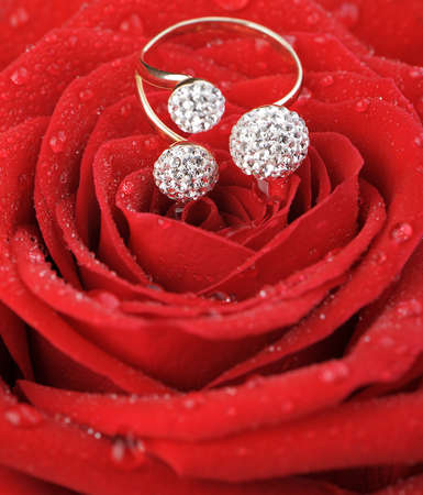 Red rose with a ring with jewels and water drops. A photo closeup photo