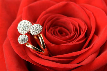 rose ring: Red rose with a ring with jewels. A photo closeup