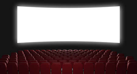 wide screen: Cinema auditorium. 3d rendering. View on the screen