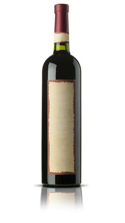 Bottle of old wine. A yellow ancient label. It is isolated on a white background photo