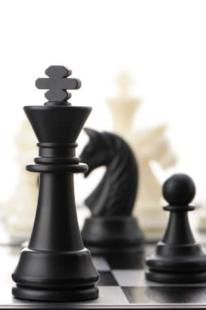The black chess king. Selective focus photo