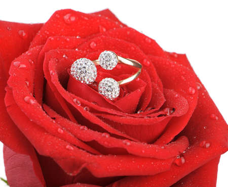 Red rose with a ring with jewels and water drops. Isolated on white background photo