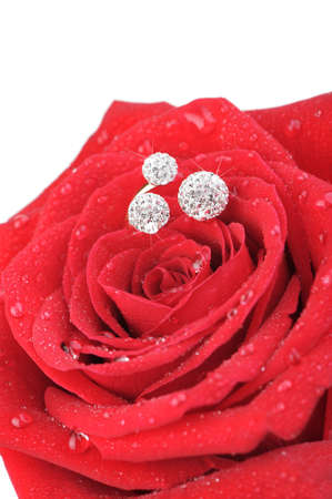 Red rose with a ring with jewels and water drops. A photo closeup.Isolated on white photo