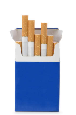 vices: Pack of cigarettes with cigarettes sticking out isolated on white. Stock Photo