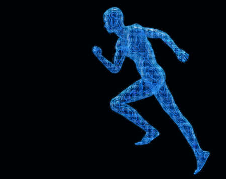 Ejecutar los hombres digiital. Modelos de textura 3D una cuadrícula azul transparente sobre un fondo negro Foto de archivo