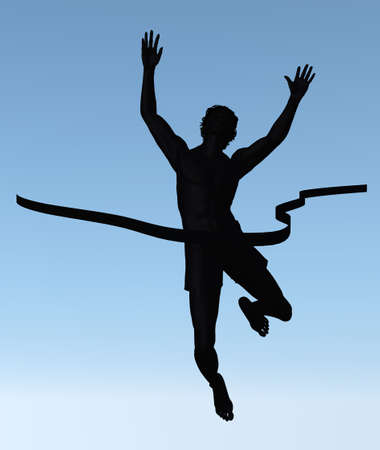 unrecognizable: Silhouette of the man of the winner. The athlete with the lifted hands and finishing ribbon