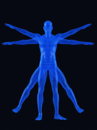 vitruvian man: El hombre de Vitruvio. Representaci�n 3D. En negro