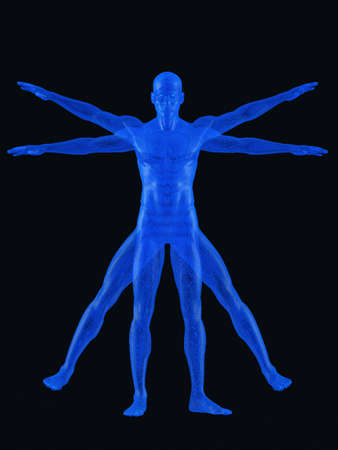 physiology: Vitruvian man. 3d rendering. On black