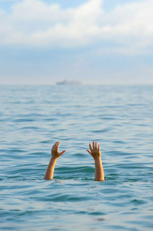 The drowning man. The man in water asks about the help.