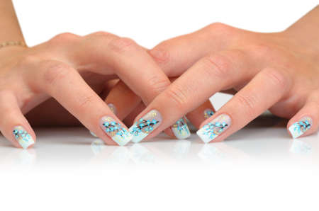 nailcare: Female hands with manicure close up. Drawing of a branch with blue flowers. It is isolated on a white background. Stock Photo