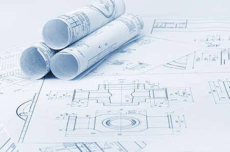 Le plan de détails industriels. Une photo de près. Tonification Bleu Éditoriale