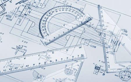 Der Plan Industrie-Details, ein Winkelmesser, Lineal. Blau getönten Standard-Bild