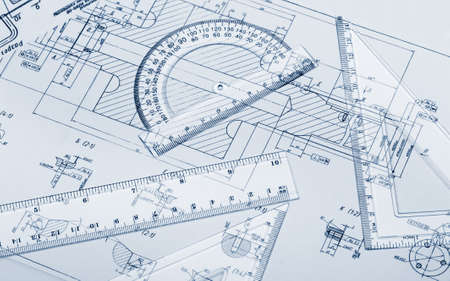 Het plan industriële details, een gradenboog, liniaal. Blue afgezwakt Stockfoto