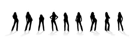 breeches: Silhouette of the woman. Various poses. Uncurl hair. It is isolated on a white background