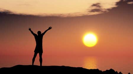 dicséret: férfi köszönés napot. Áll a hegyen, az óceán és a sárga naplemente Stock fotó