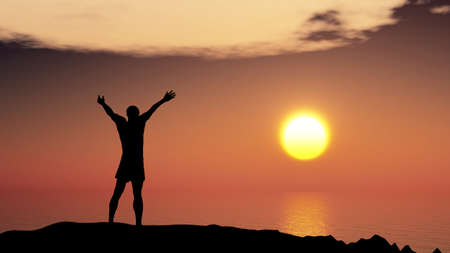 worship praise: men greeting sun. Stands on hill, ocean and yellow sunset