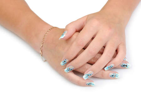 Female hands with manicure close up. Drawing of a branch with blue flowers. It is isolated on a white background. Banco de Imagens