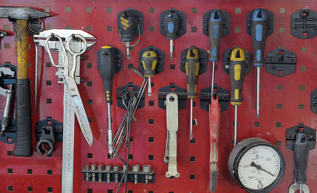 Set of the working tool at the stand. A workplace of the mechanic Stock Photo - 12690206
