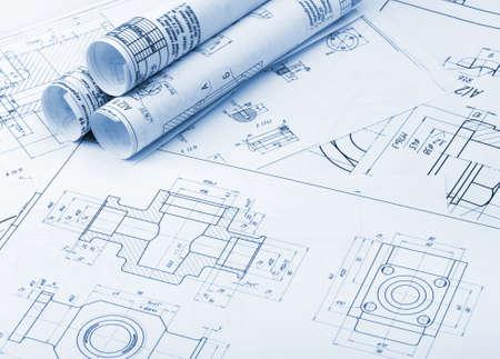 Der Plan industriellen Details. Ein Foto aus nächster Nähe. Blaue Tonen