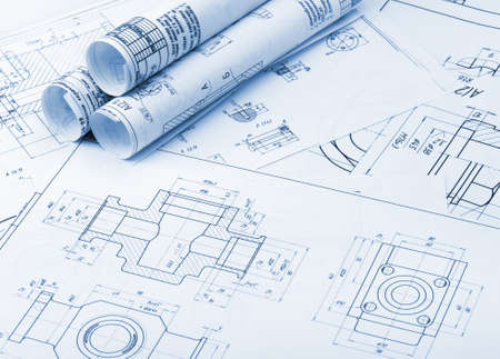 Het plan industriële details. Een foto close-up. Blue toning
