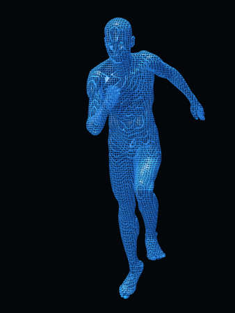 Run digiital men. Texture 3d models a blue transparent grid on a black background photo