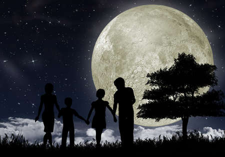 Silhouette of a family against the big moon and the star night sky.