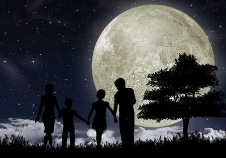 night moon: Silueta de una familia en contra de la gran luna y el cielo estrellado por la noche.