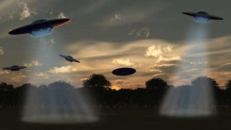"najechać: Alien attack.UFO przez las, niebo zachód sÅ'oÅ""ca. Renderowania 3D"