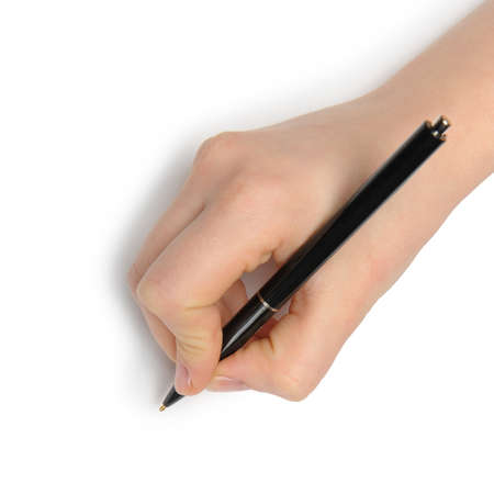 Hand with pen. Over grey empty a paper. Imitation to write Stock Photo - 12701071