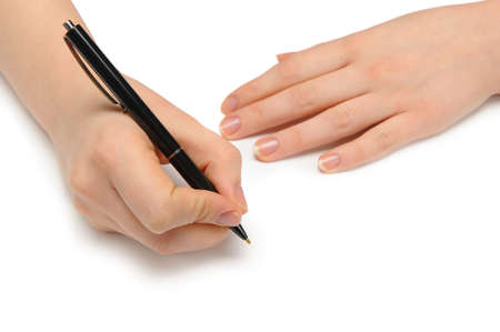 hand holding pen: Hand with pen. Over grey empty a paper. Imitation to write
