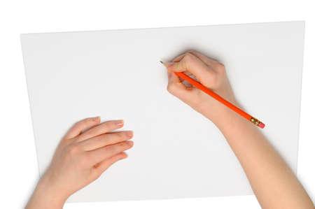 dopisní papír: Ruce s tužkou. Přes šedá vyprázdnit papír. Imitace psát Reklamní fotografie