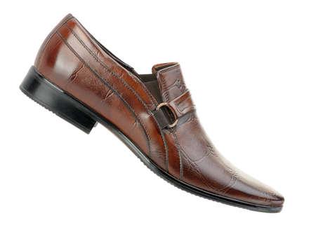 zapatos de seguridad: El hombre de los zapatos. Un piel roja. Es aislados sobre un fondo blanco
