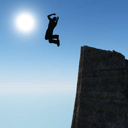 Silhouette of the jumping man from a rock. A shining sun with beams Stock Photo - 12701143