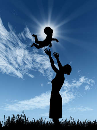 Silhouette of the woman and the baby. The woman throws up the child upwards