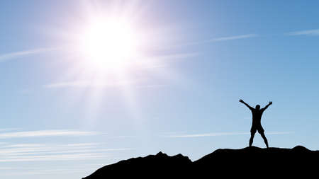 praise god: men greeting sun. Stands on hill, sunbeam and blue sky