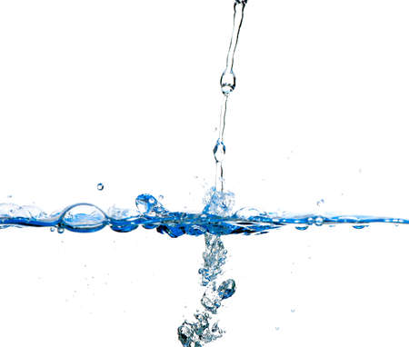 Splashes and water waves. Blue color on white isolated Stock Photo - 12701166