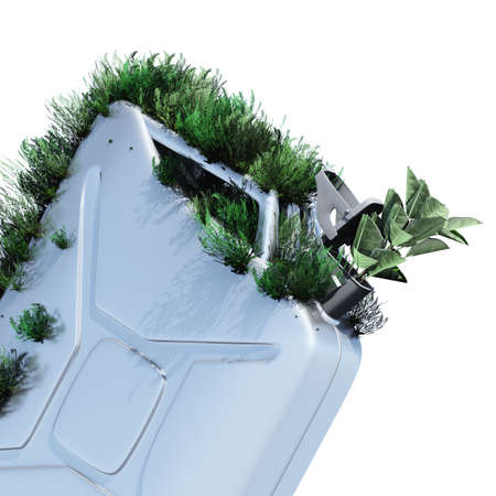 nonpolluting: Biofuel.The metal canister on which grows a grass. Concept of ecological fuel.l Stock Photo