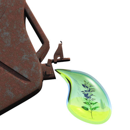 nonpolluting: Biofuel.The canister with a drop of gasoline and a plant in it. Concept of non-polluting fuel