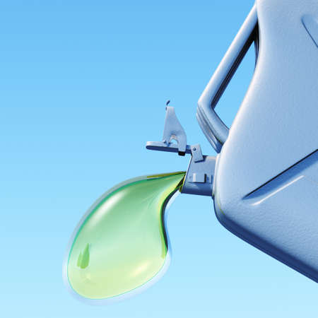 nonpolluting: Biofuel.The canister with a drop of gasoline . Concept of non-polluting fuel