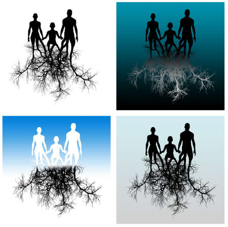 Family with tree roots. It is isolated on a white background. photo