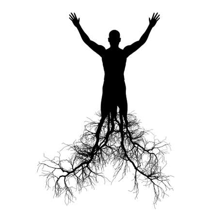 root: The man with tree roots. It is isolated on a white background. Stock Photo