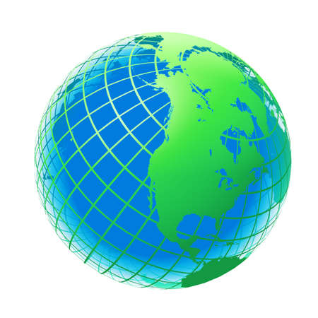 it background: transparent the globe green and blue color. An earth breadboard model. It is isolated on a white background