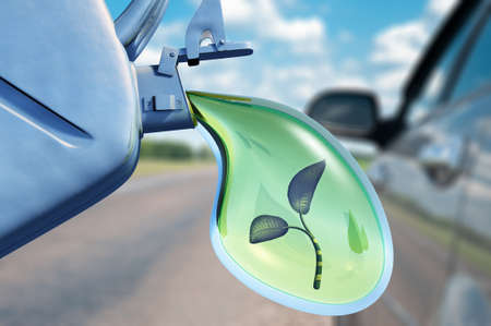 eco car: Biofuel.The canister with a drop of gasoline and a plant in it. Concept of non-polluting fuel