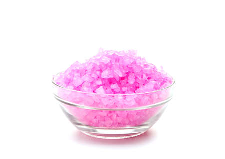 crystal bowl: Sea red color salt in glasses. Isolated on white Stock Photo
