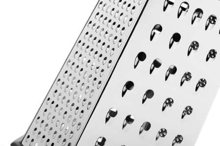 grates: Iron grater, a device which grates food . Isolated on white background