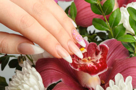 Female hands with manicure closeup. Against an orchid photo