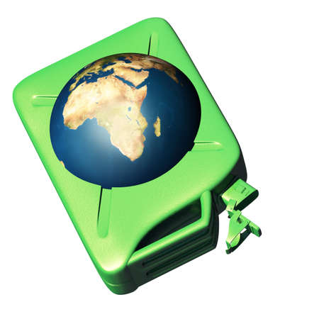 nonpolluting: The canister with the earth. Concept of dependence on oil Stock Photo