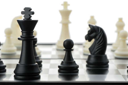 chess pieces: The black chess king. Selective focus Stock Photo