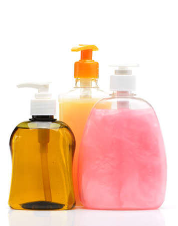 Liquid soap. Color of the bottle. Isolated on white background photo
